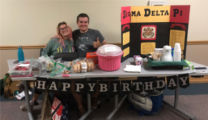 Olivia Strutervant and Vinny Lyons at the SDP bake sale