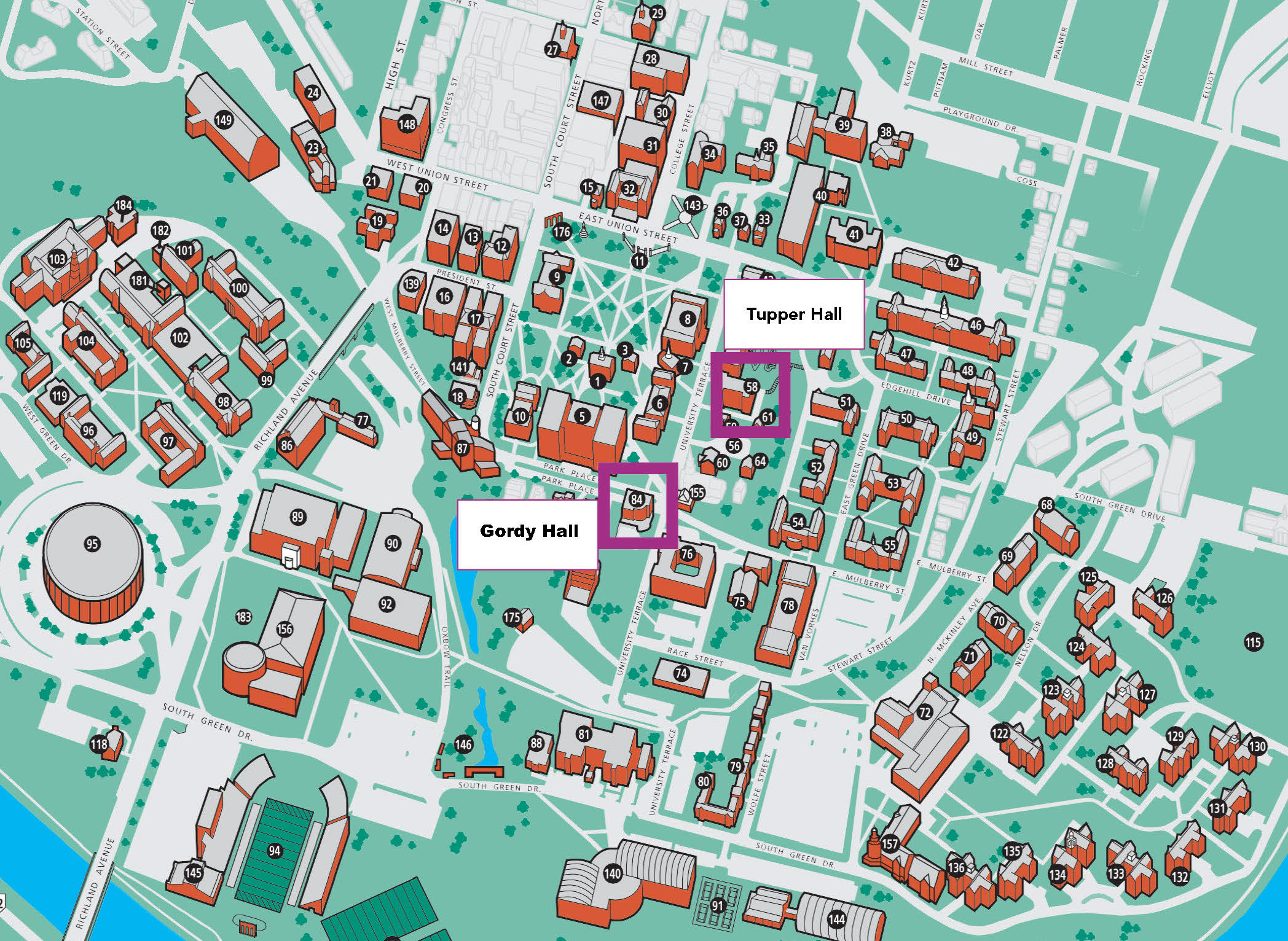 A map of Ohio University's campus that shows where Gordy Hall and Tupper Hall are located